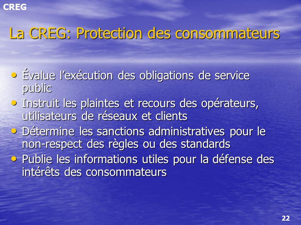 La CREG: Protection des consommateurs