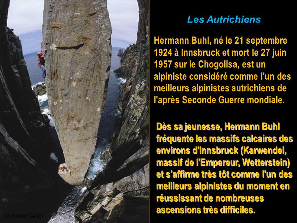 Les Autrichiens Hermann Buhl, né le 21 septembre 1924 à Innsbruck et mort le 27 juin.