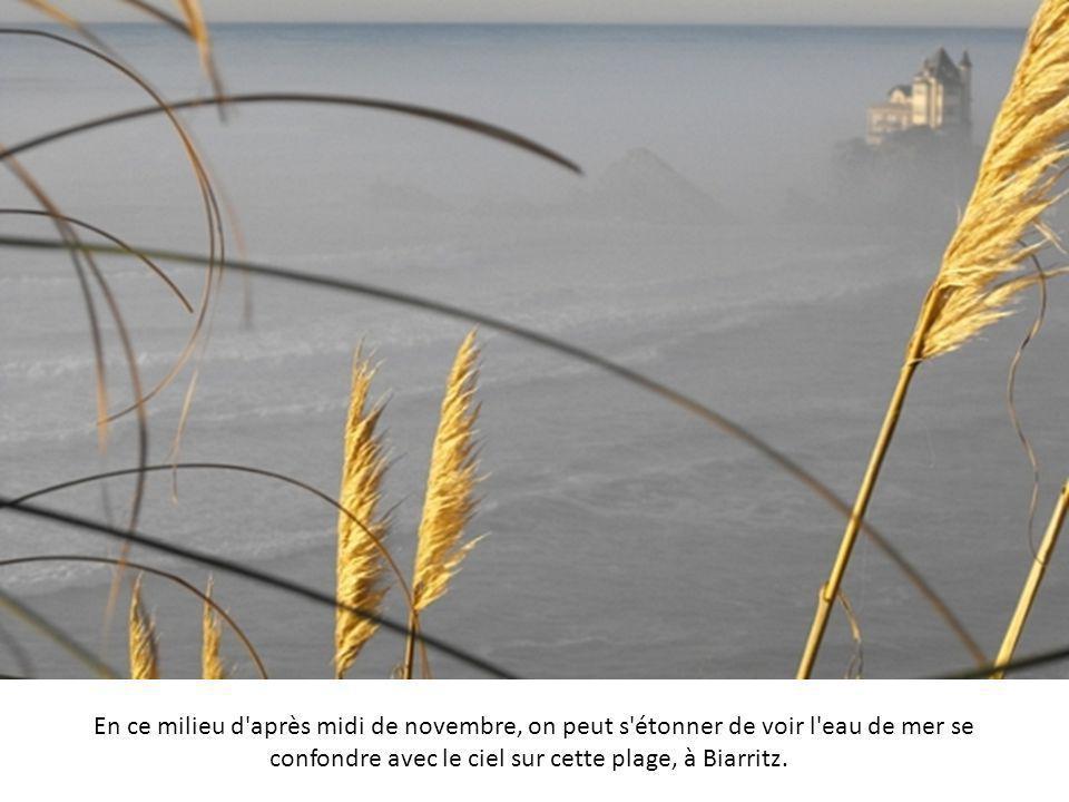 En ce milieu d après midi de novembre, on peut s étonner de voir l eau de mer se confondre avec le ciel sur cette plage, à Biarritz.