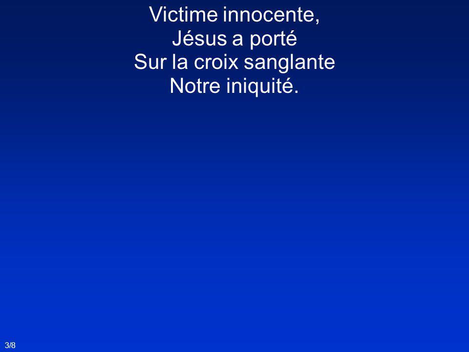 Victime innocente, Jésus a porté Sur la croix sanglante Notre iniquité.