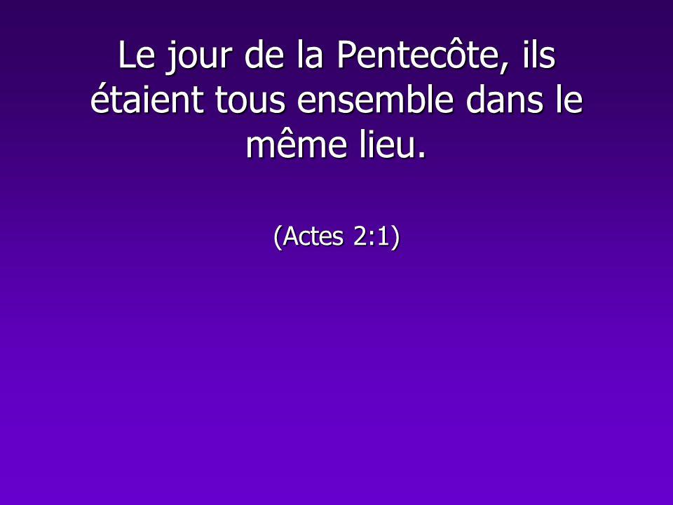 Le jour de la Pentecôte, ils étaient tous ensemble dans le même lieu