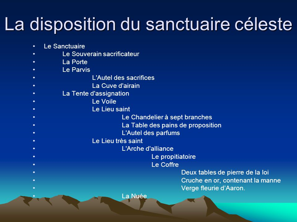 La disposition du sanctuaire céleste