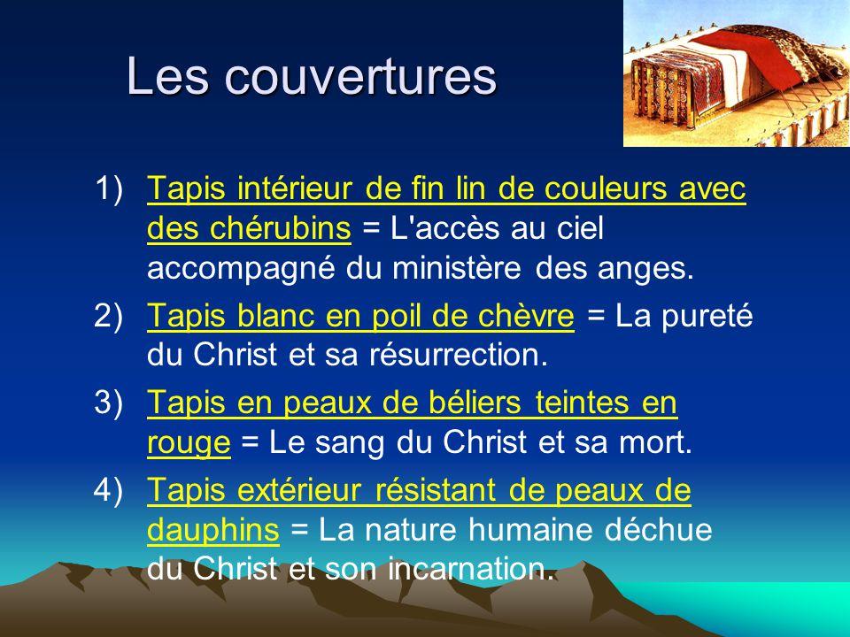 Les couvertures 1) Tapis intérieur de fin lin de couleurs avec des chérubins = L accès au ciel accompagné du ministère des anges.