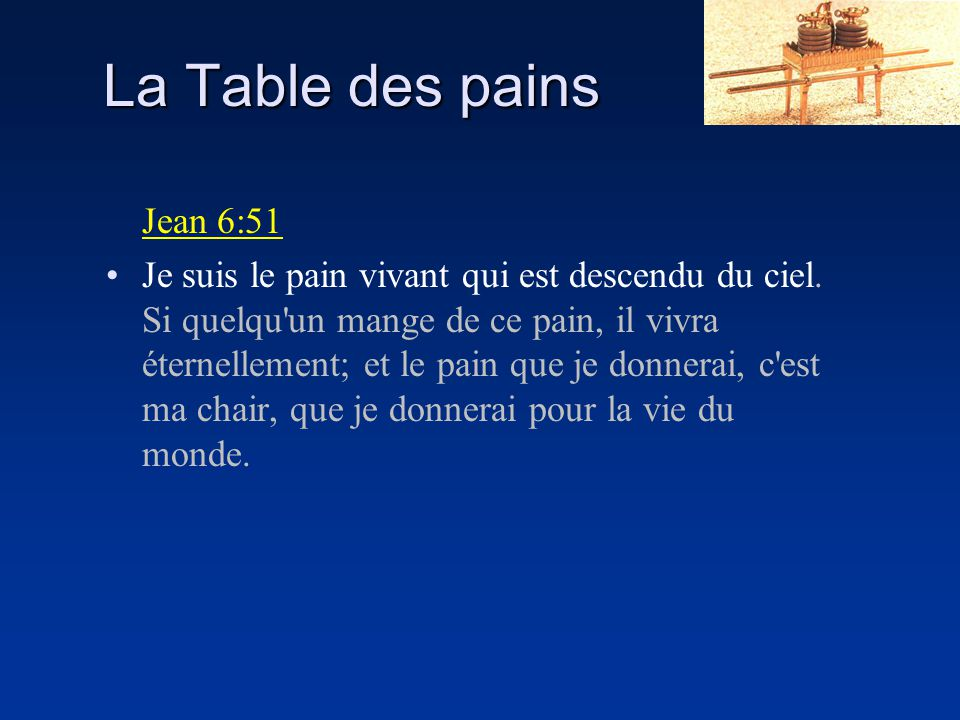 La Table des pains Jean 6:51