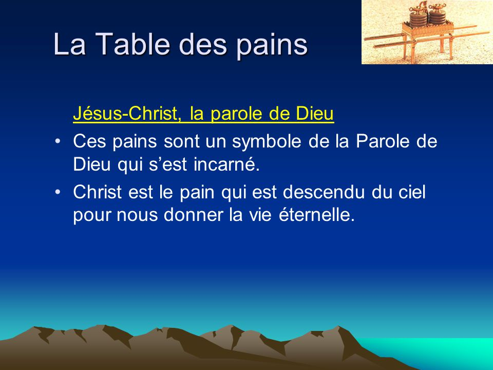 La Table des pains Jésus-Christ, la parole de Dieu