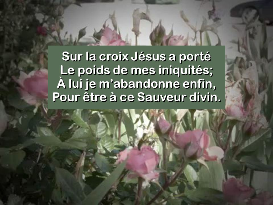 Sur la croix Jésus a porté Le poids de mes iniquités; À lui je m'abandonne enfin, Pour être à ce Sauveur divin.