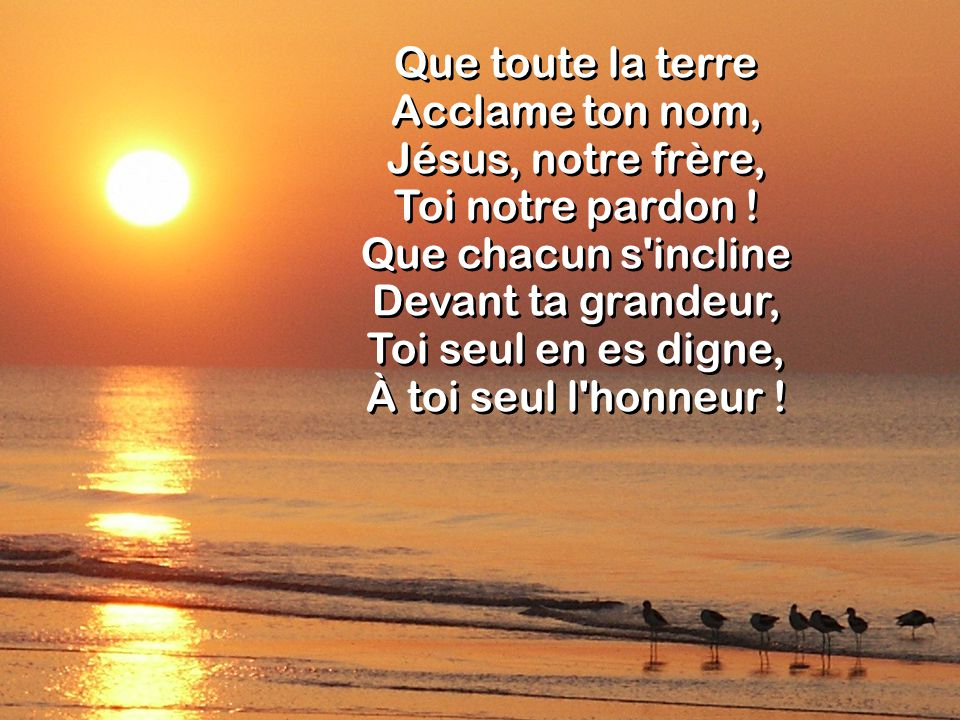 Que toute la terre Acclame ton nom, Jésus, notre frère, Toi notre pardon .