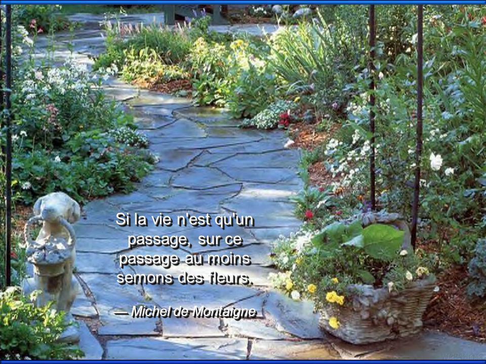 Si la vie n est qu un passage, sur ce passage au moins semons des fleurs.