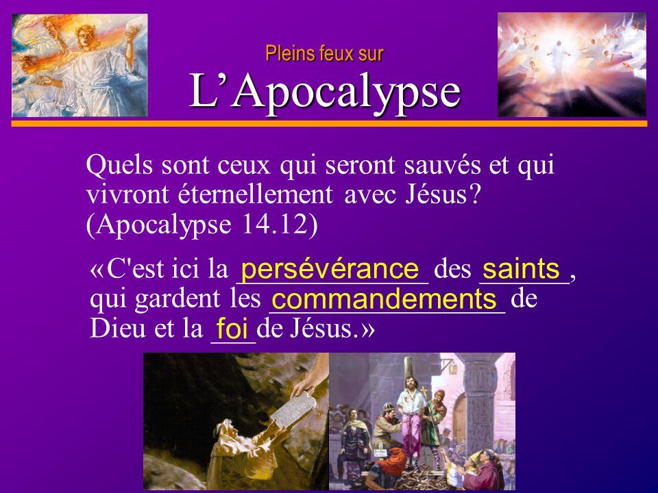 Pleins feux sur L'Apocalypse. Quels sont ceux qui seront sauvés et qui vivront éternellement avec Jésus (Apocalypse 14.12)