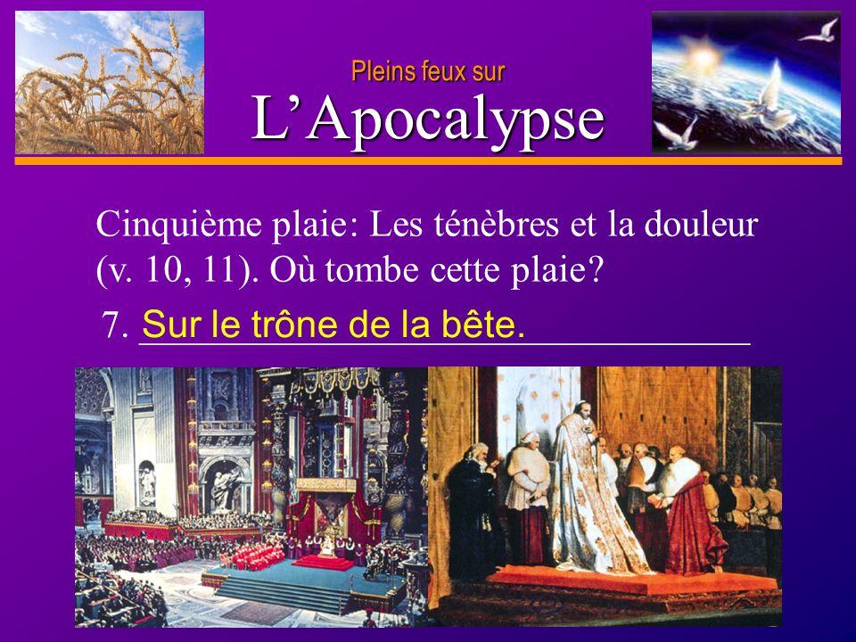 Pleins feux sur L'Apocalypse. Cinquième plaie : Les ténèbres et la douleur (v. 10, 11). Où tombe cette plaie