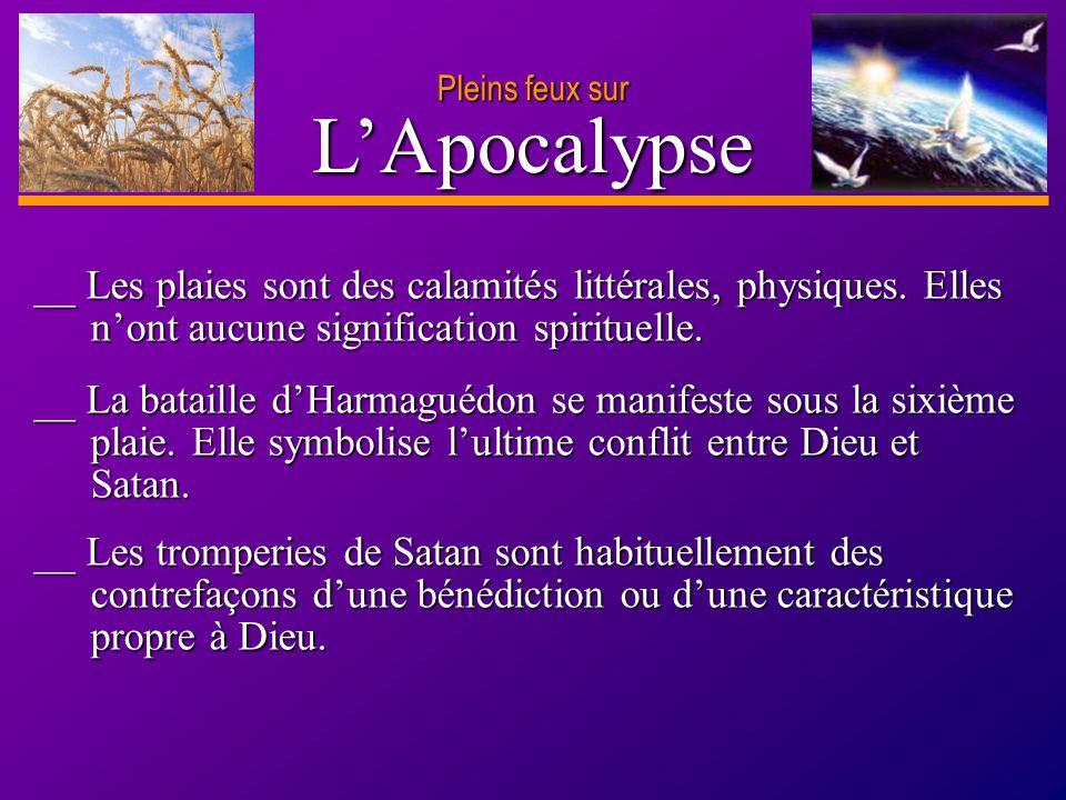 Pleins feux sur L'Apocalypse. __ Les plaies sont des calamités littérales, physiques. Elles n'ont aucune signification spirituelle.