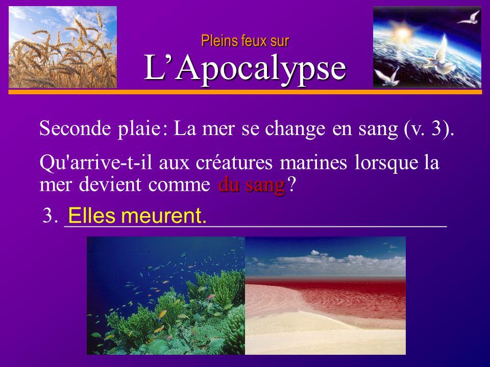 L'Apocalypse Seconde plaie : La mer se change en sang (v. 3).