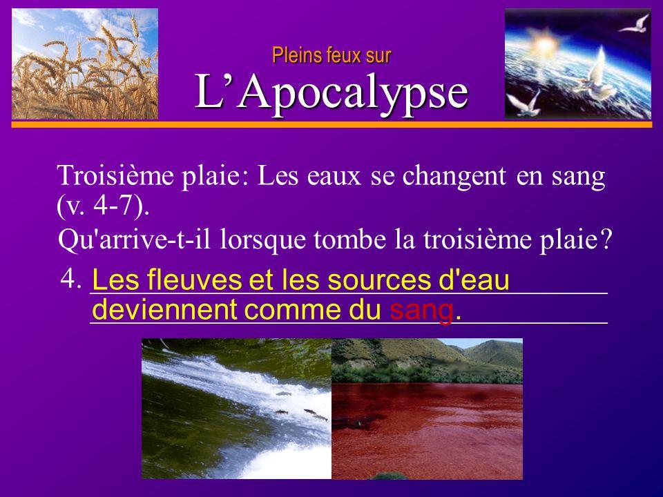 L'Apocalypse Troisième plaie : Les eaux se changent en sang (v. 4-7).