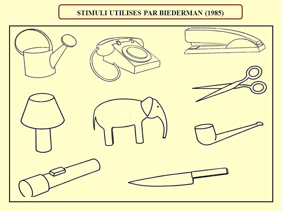 STIMULI UTILISES PAR BIEDERMAN (1985)