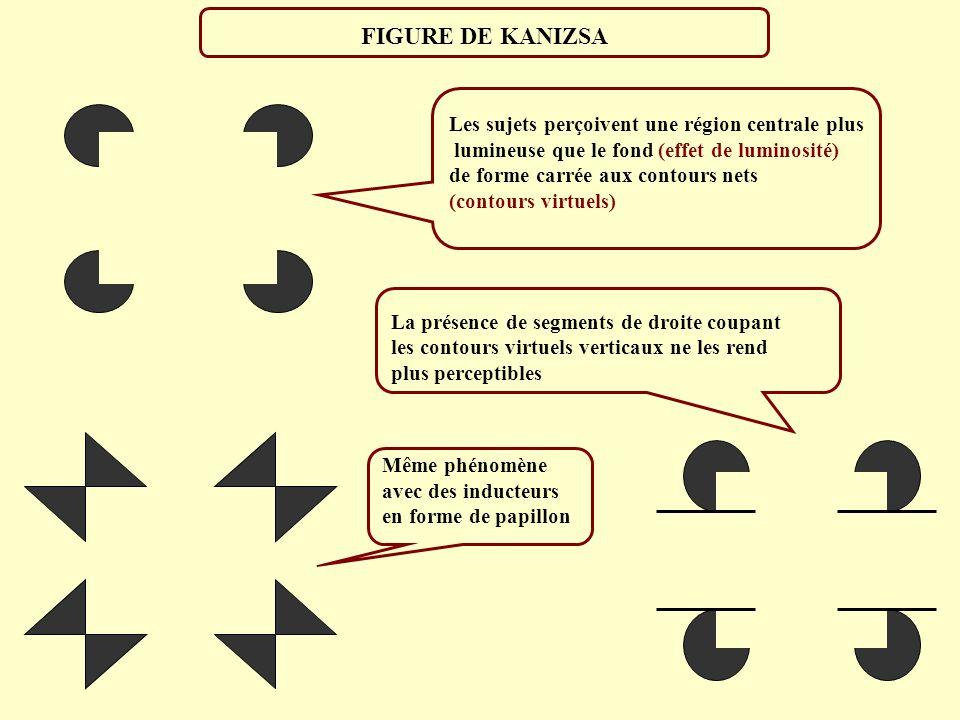 FIGURE DE KANIZSA Les sujets perçoivent une région centrale plus