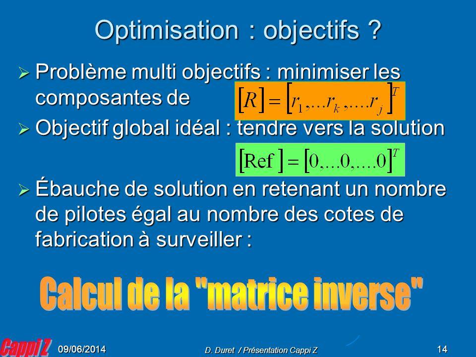 Optimisation : objectifs