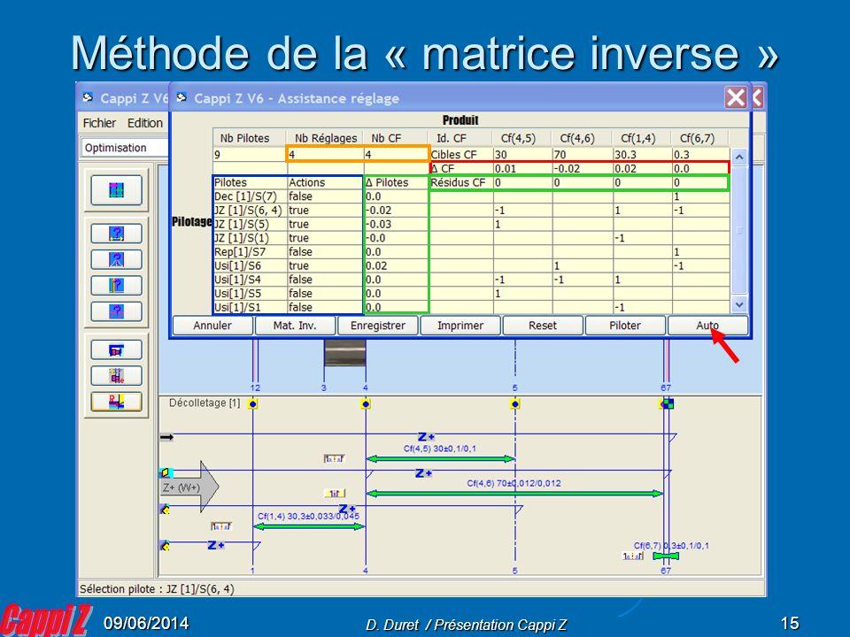 Méthode de la « matrice inverse »