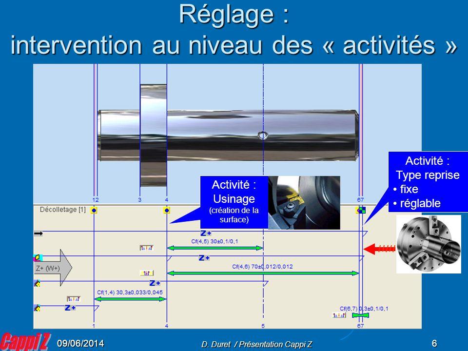 Réglage : intervention au niveau des « activités »