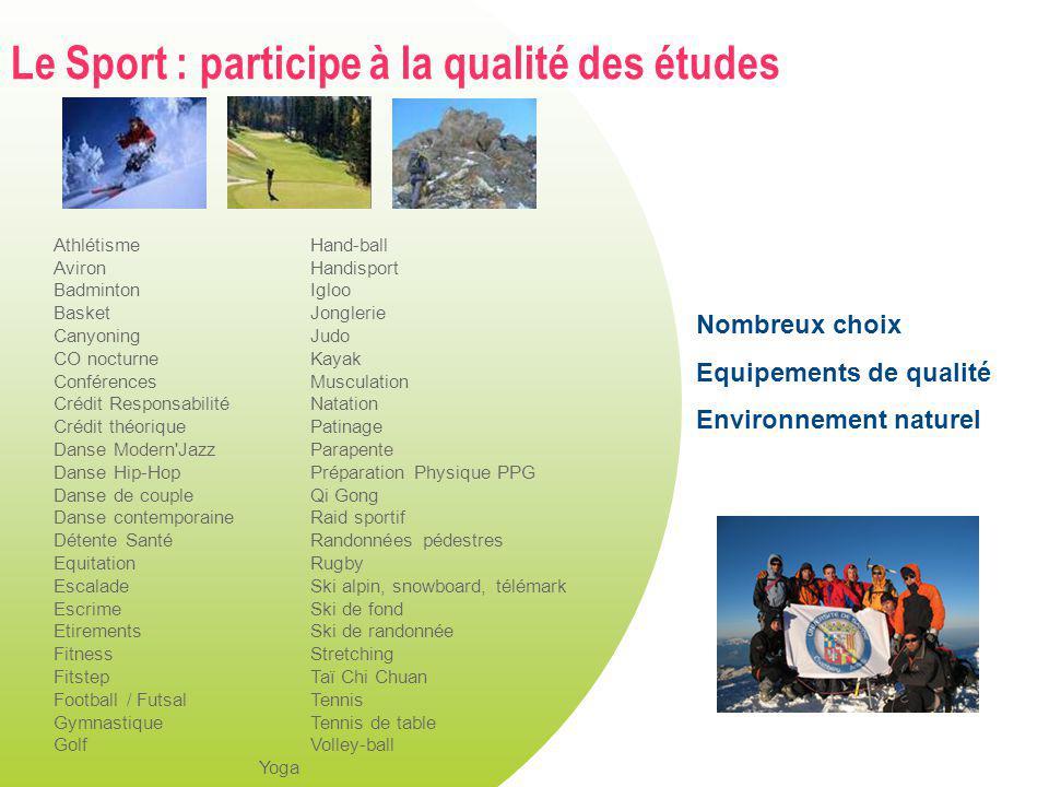 Le Sport : participe à la qualité des études