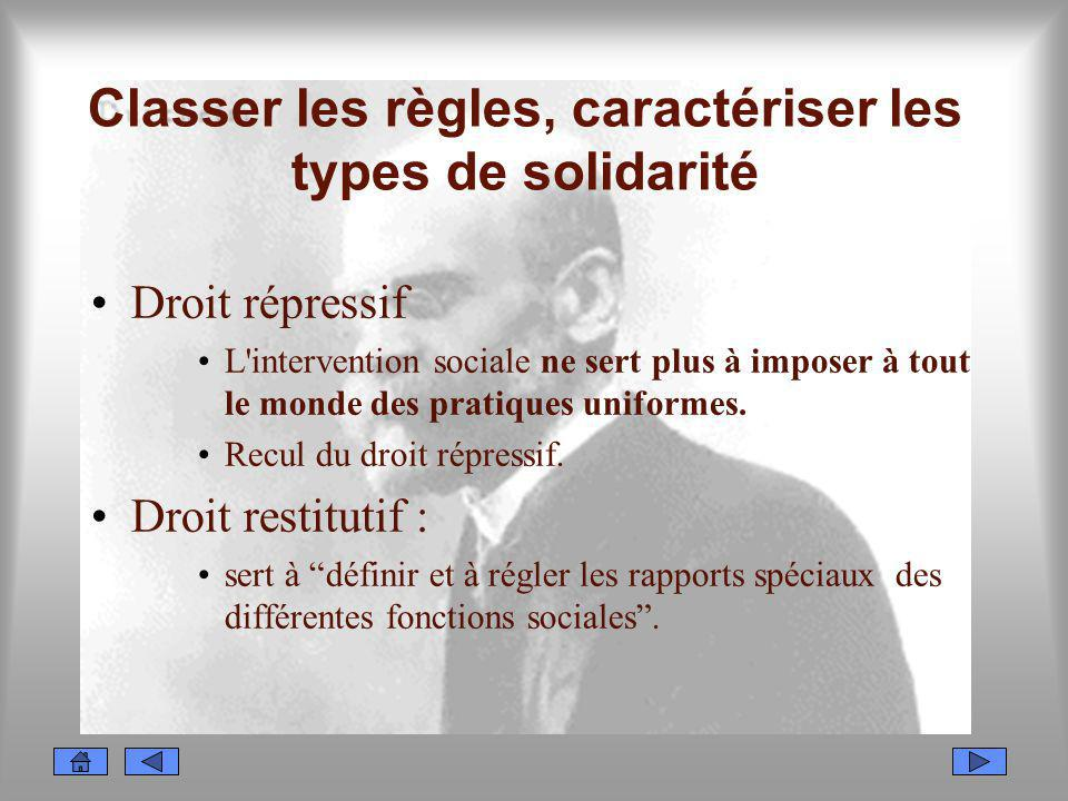 Classer les règles, caractériser les types de solidarité