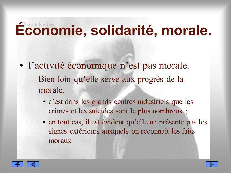 Économie, solidarité, morale.
