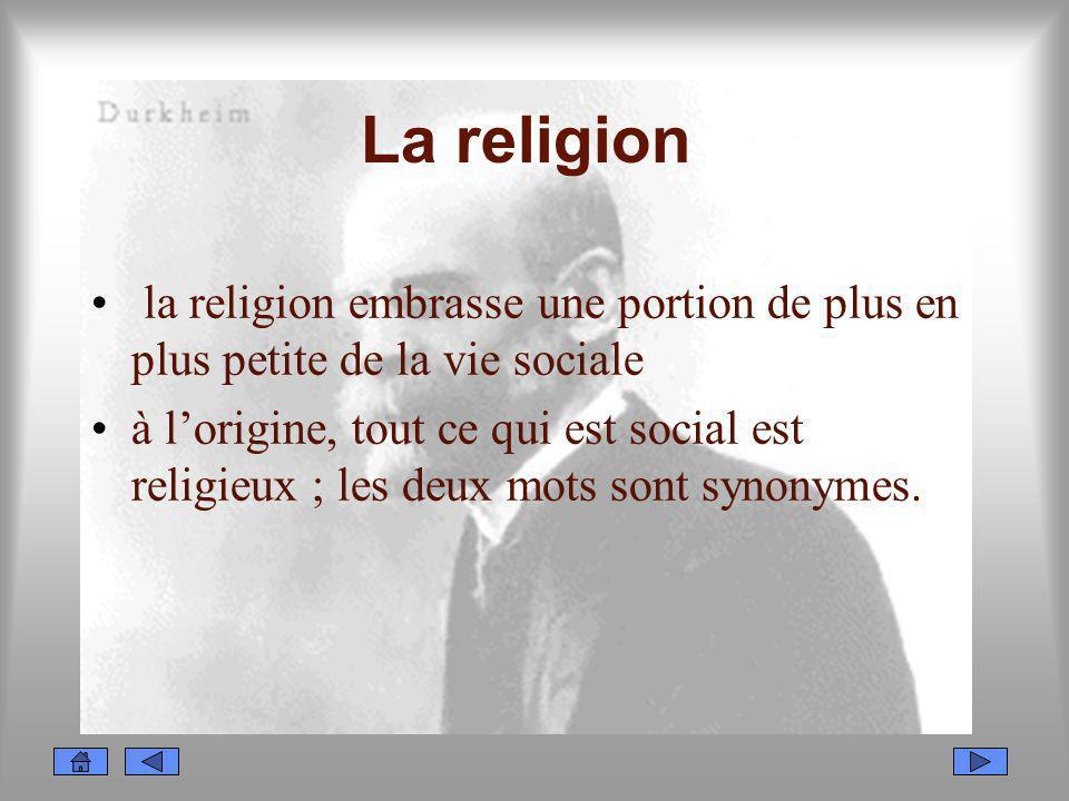 La religion la religion embrasse une portion de plus en plus petite de la vie sociale.