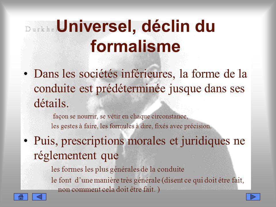 Universel, déclin du formalisme
