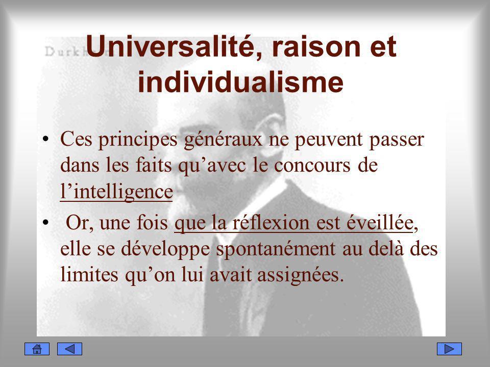 Universalité, raison et individualisme