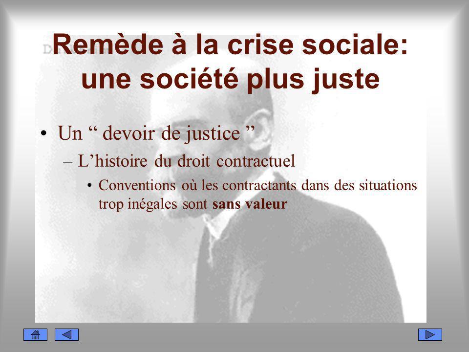 Remède à la crise sociale: une société plus juste