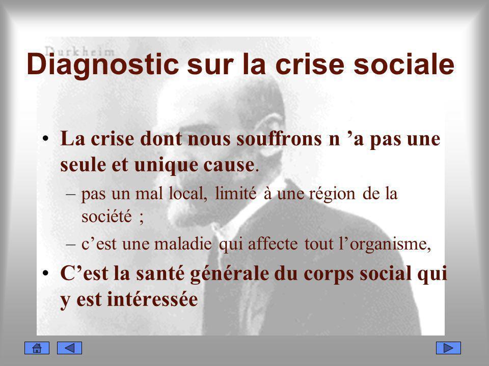 Diagnostic sur la crise sociale