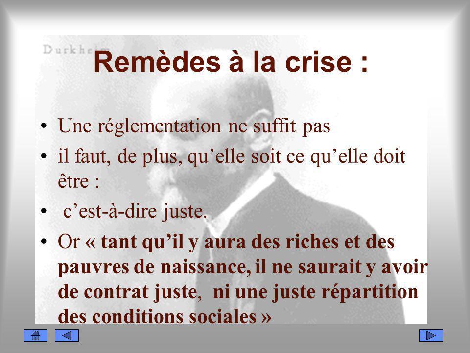 Remèdes à la crise : Une réglementation ne suffit pas