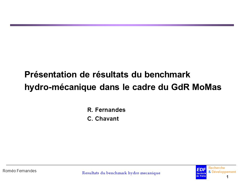 Resultats du benchmark hydro mecanique