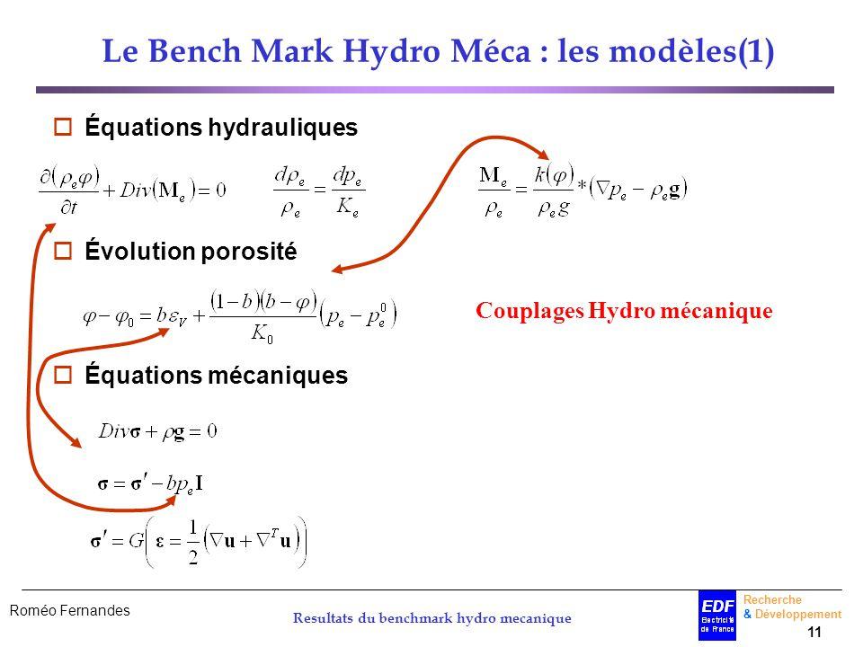 Le Bench Mark Hydro Méca : les modèles(1)