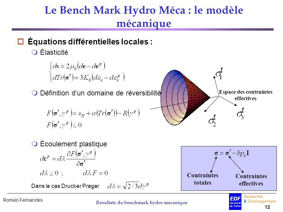 Le Bench Mark Hydro Méca : le modèle mécanique