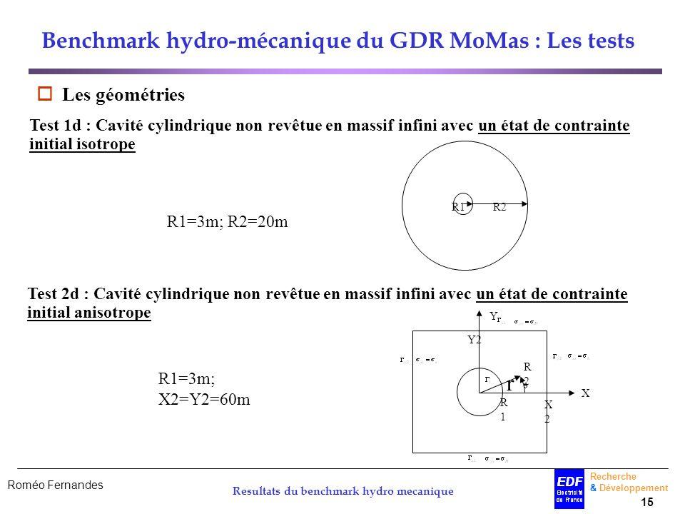 Benchmark hydro-mécanique du GDR MoMas : Les tests