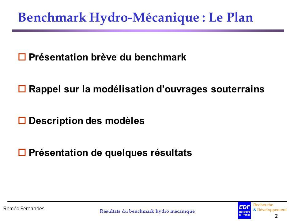 Benchmark Hydro-Mécanique : Le Plan