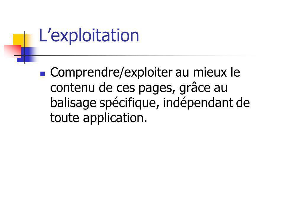 L'exploitation Comprendre/exploiter au mieux le contenu de ces pages, grâce au balisage spécifique, indépendant de toute application.