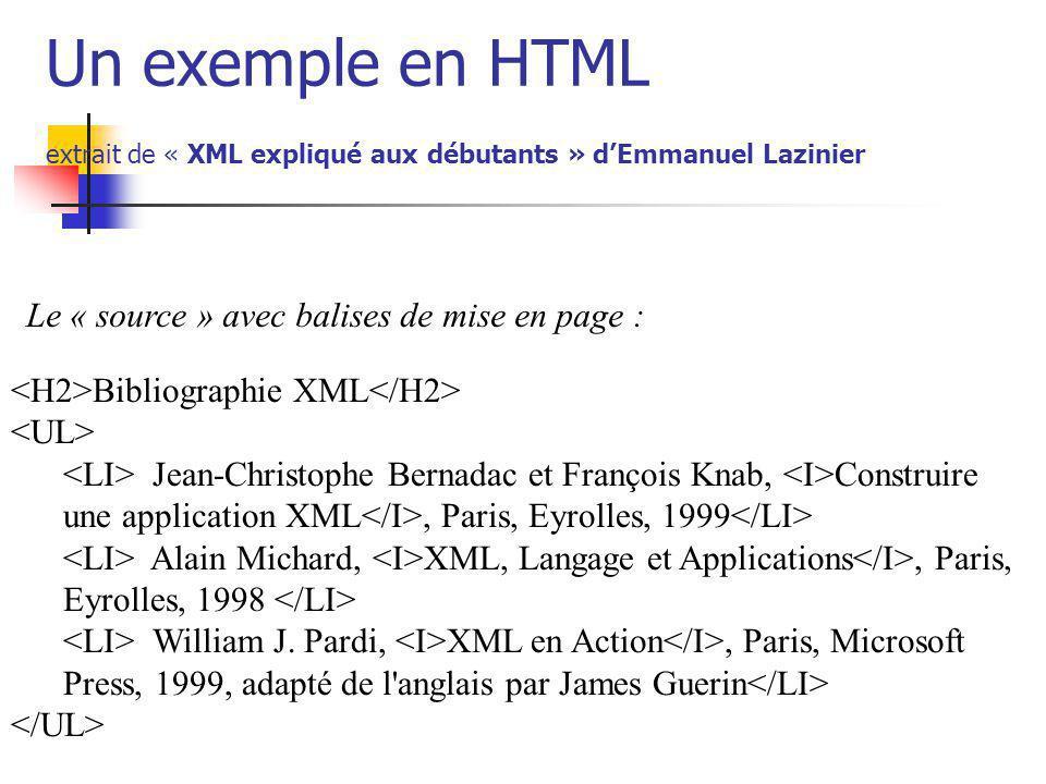 Un exemple en HTML extrait de « XML expliqué aux débutants » d'Emmanuel Lazinier