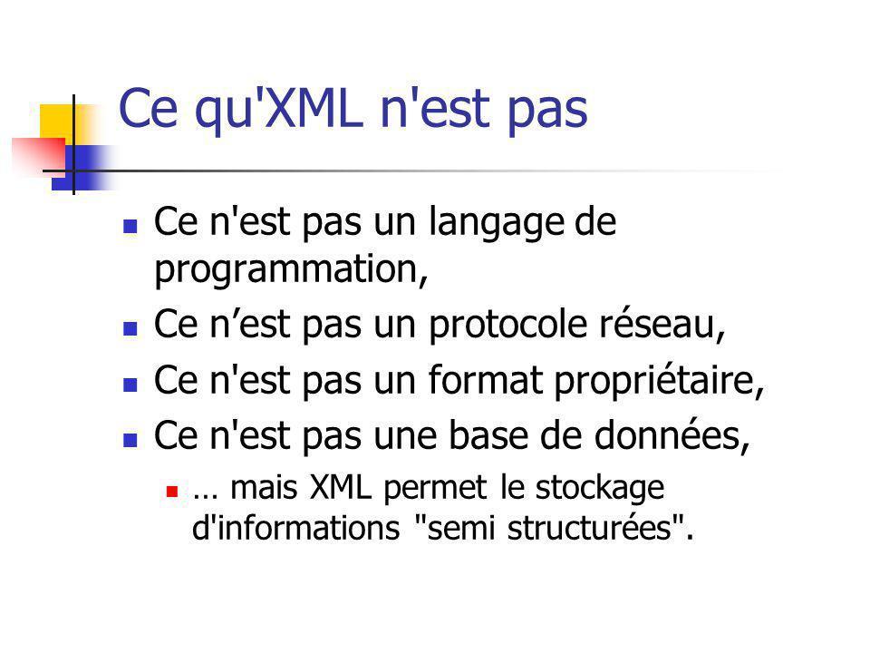 Ce qu XML n est pas Ce n est pas un langage de programmation,