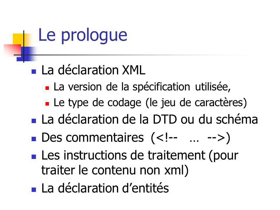Le prologue La déclaration XML La déclaration de la DTD ou du schéma