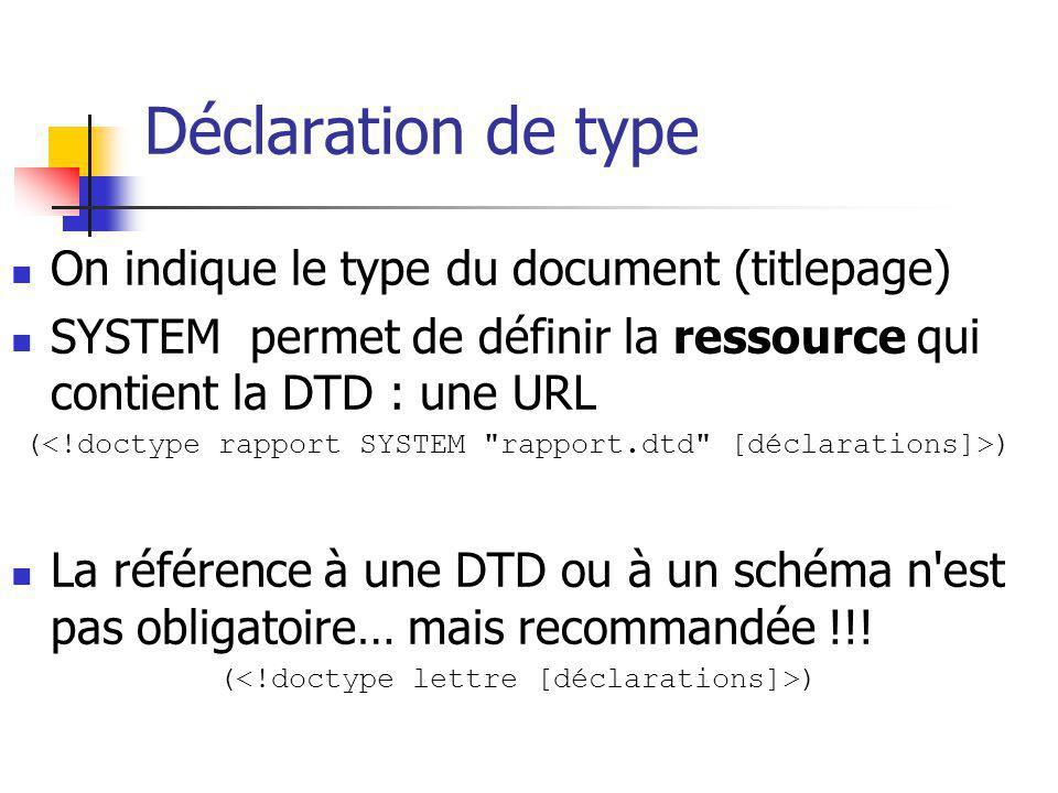 Déclaration de type On indique le type du document (titlepage)