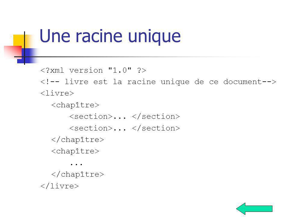 Une racine unique < xml version 1.0 >