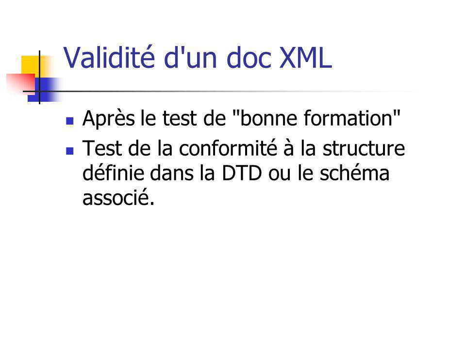 Validité d un doc XML Après le test de bonne formation