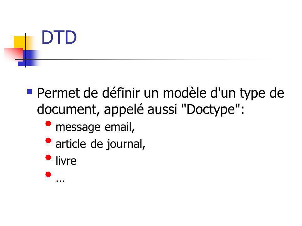 DTD Permet de définir un modèle d un type de document, appelé aussi Doctype : message email, article de journal,