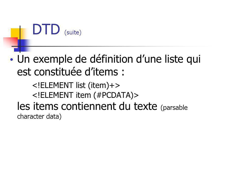 DTD (suite)