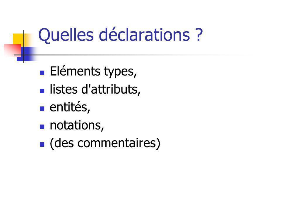 Quelles déclarations Eléments types, listes d attributs, entités,