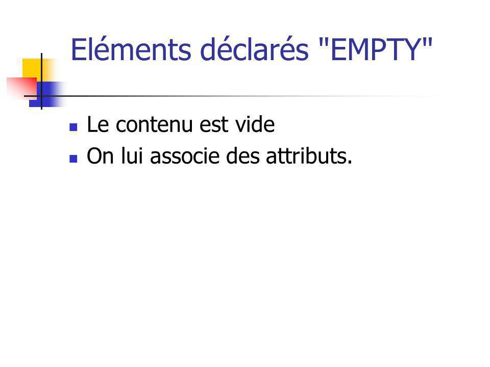 Eléments déclarés EMPTY