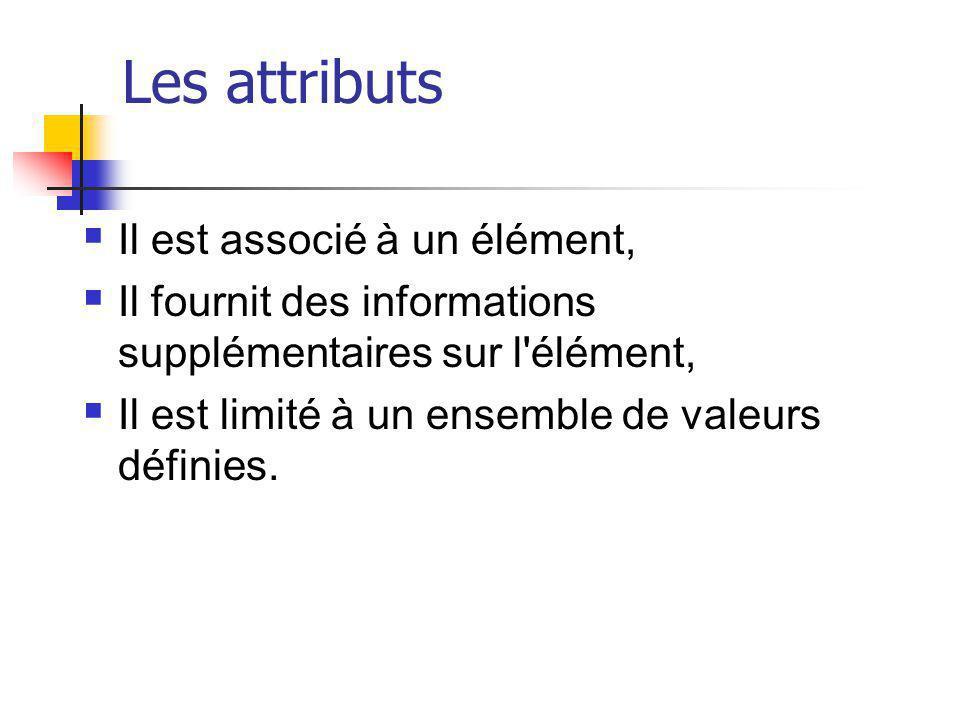 Les attributs Il est associé à un élément,
