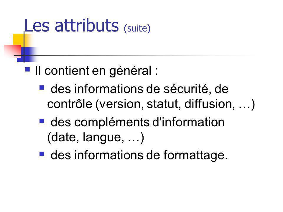 Les attributs (suite) Il contient en général :