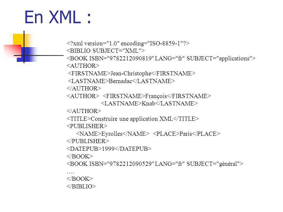 En XML : < xml version= 1.0 encoding= ISO-8859-1 >